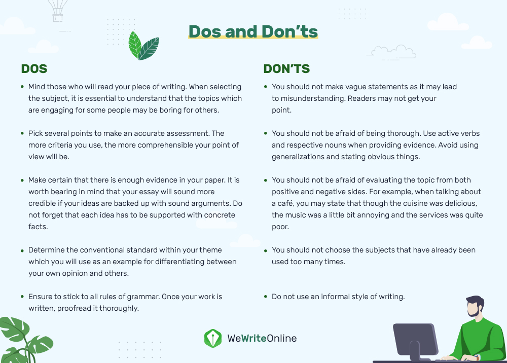 Dos and Donts'ts  Evaluative Essay Writing